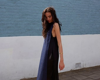 FINAL SALE! Denim Panel Loose Midi Dress