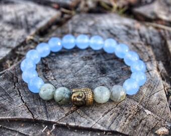 Buddha Faceted Labradorite Aquamarine Bracelet