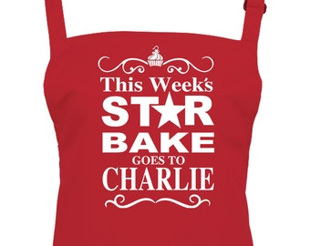Traditional Sandwich Board 'STAR BAKE' Apron  - Email the name you want - Personalised unisex adult apron - AA1548