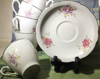 Flat Cup & Saucer Set of 6 by Cmielow (Poland)