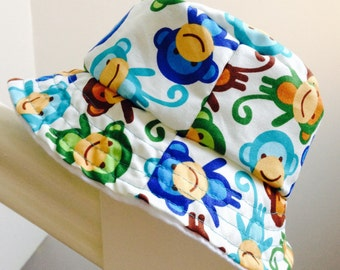 SALE! Baby bucket sun hat - monkey pattern