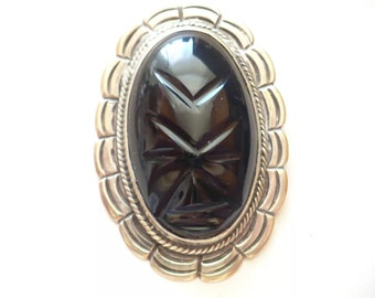 Vintage Estate Sterling Silver Carved Onyx Mask Pin Brooch Taxco Mexico