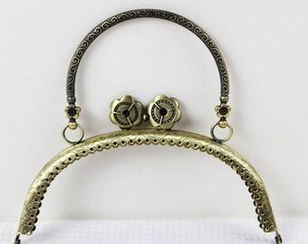 Antique Bronze Kiss Lock Frame Vintage Handbag Frame With Metal Handbag Handle