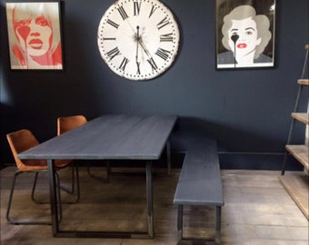 A stunning 'Farrow & Ball Railing Grey' coloured Dining Table with a steel U Base