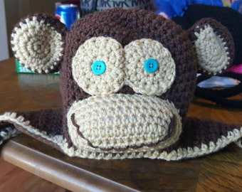 Monkey Baby Winter Hat with Earflaps