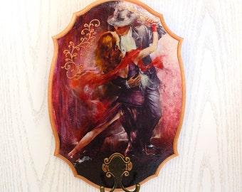 "Wall key holder, Key Rack, Key Hook, Key Hanger ""Passion tango"", houswarming gift"
