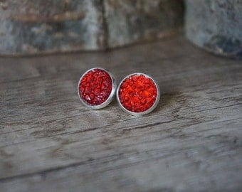 "Earrings ""red blood"""