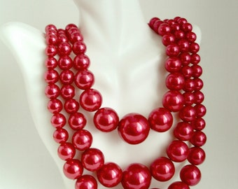 Red Pearl Necklace, Big Chunky Pearl Necklace, Multi Strand Red Necklace, Bib Necklace Big Statement Necklace