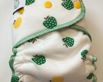 Apple print hybrid fitted cloth diaper - one size OS -- serged (SG)