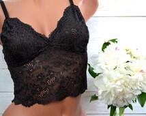 Black lace bralette/ Lace top/ Underwear/ Longline bra/ Soft cup bra/ Black lingerie/ Sheer bralette