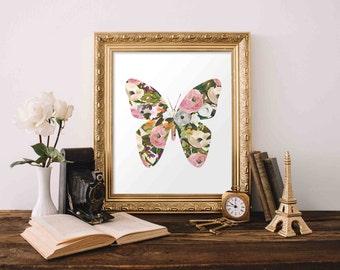 Printable Wall Art, Butterfly printable art, Baby Girl Nursery decor Nursery art Baby Girl Butterfly Nursery Print love quote pink gray grey