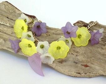 Flower Bracelet for Women, Swarovski Crystal Jewelry, Purple Bracelet, Flower Girl Bracelet, Yellow Bracelet, Silver Chain Bracelet