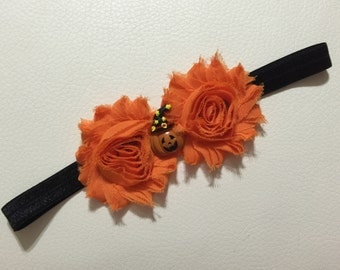 Halloween Baby Headband ,Pumpkin Baby Headband ,Double Shabby Chic Headband ,Shabby Chic Headband ,Baby Headband, Pumpkin Headband