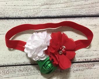 Christmas Baby Headband Christmas Headband Newborn Headband Red Green White Flowers Baby Headband Christmas Hair Bows Holiday Headband