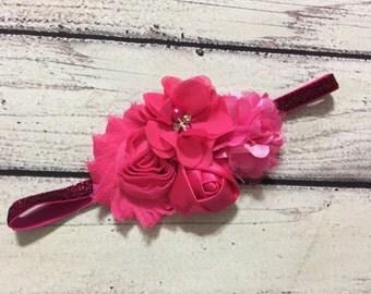 Hot Pink Baby Headband ,Vintage Baby Headband ,Baby Headband  , Vintage Headband , Shabby Chic Headband, Shocking Pink Headband