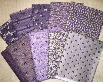 10 Bright Purple prints with flowers in a variety floral patters 100% Cotton Fat Quarters Bundles E472