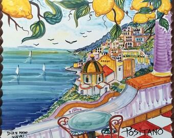 Tile Mural Backsplash, Italy Gift, Hand Painted Tile Hanging, Positano Terrace and Yellow Lemons, Wall Hanging, Hanging Tile, Coastal Art