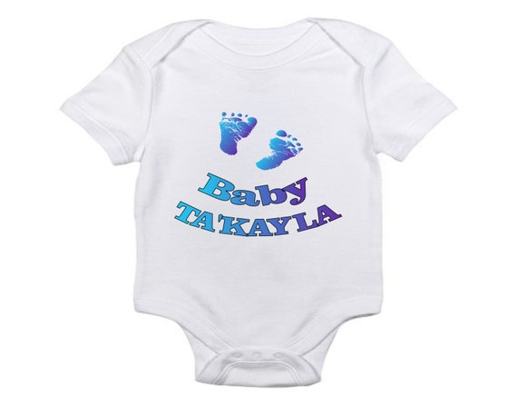 personalized baby feet one piece or t shirt all sizes or. Black Bedroom Furniture Sets. Home Design Ideas