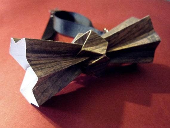 articles similaires noeud papillon origami effet bois sur etsy. Black Bedroom Furniture Sets. Home Design Ideas