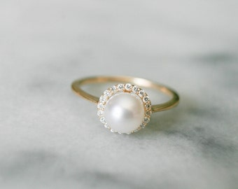 dainty diamond halo pearl ring pearl engagement ring diamond and pearl ring - Pearl Wedding Ring