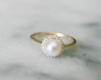 Dainty Diamond Halo Pearl Ring, Pearl Engagement Ring, Diamond and Pearl Ring