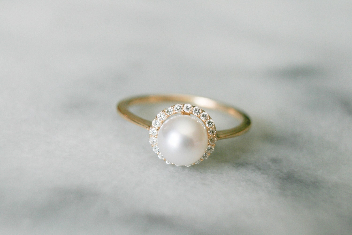 Dainty Diamond Halo Pearl Ring Pearl Engagement Ring Diamond