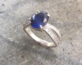 Sapphire Engagement Ring, Blue Sapphire Ring, Created Sapphire, Anniversary Ring, Sapphire Promise Ring, Something Blue, Solid Silver Ring
