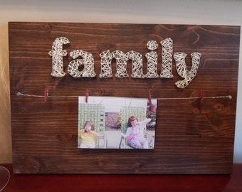 "Family Picture Holder String Art- 12""x 17 3/4"""
