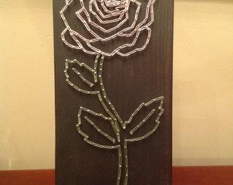 "Rose String Art- 6""x14"""