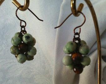 Green Jasper and Tiger's Eye Cluster Brass Earrings
