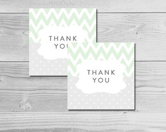 Chevron Mint Green and Gray Baby Shower - Thank You Tags - Instant Download Printable - Gender Neutral
