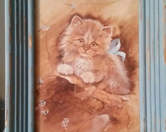 Vintage Kitten Picture/Turqoise Distressed Frame/1980s/Kid's Room Decor/Vintage Nursery Decor/Vintage Gift/Cat Lovers Gift