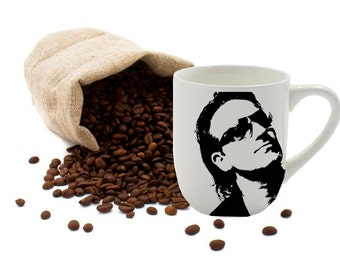 Bono, U2, Coffee Cup, Coffee Mug, Painted Coffee Mug, 12oz Coffee Mug, White Coffee Mug, Coffee, Latte, Tea, White Cup, Off White Cup