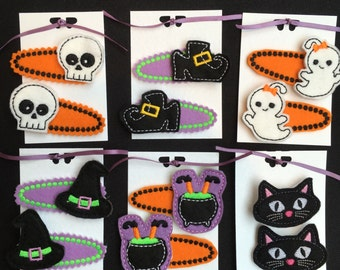 Halloween Hair slides clips * Skull, Black Cat, Witch's Hat, Witch's shoes, Baby ghost, Witches Cauldron, Fancy Dress, Halloween accessories