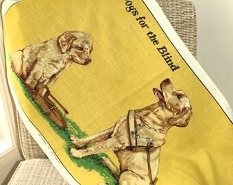 Retro Vintage Guide Dogs for the Blind Tea Towel - Dog & Puppy Kitsch Linen Cotton Tea Towel - 70s Tea Towel