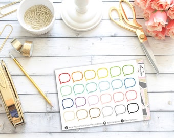 Speech Bubble Outline Stickers || 24 Planner Stickers