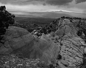 Near Ghost Ranch, Abiquiu, NM-Storm In Chama Valley, Lake Abiquiu area - 0470 bw