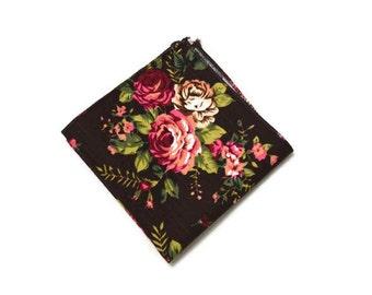 Brown Floral Pocket Square