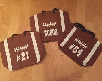Canvas Football Bags, Football Tote Bag, Football Pocketbook, Football Bag, Football Print Bag