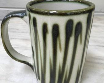 vintage Louisville Stoneware mug, D. L. Mahoney, coffee mug, green, collectible, Kentucky