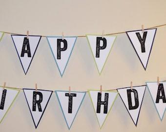 Happy Birthday Banner, handmade, birthday decor