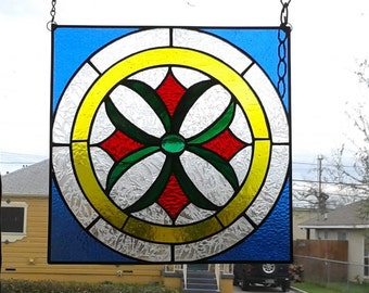 SOLD - Stained Glass Yellow, Red, and Blue Medallion Panel