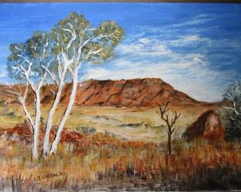 Karijini National Park Australian Landscape Painting, Western Australia acrylic painting, Outback painting