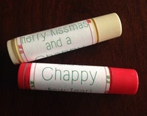 PRINTABLE Merry Kissmas and a Chappy New Year Chapstick Lip Balm Label Sticker - Custom By Request