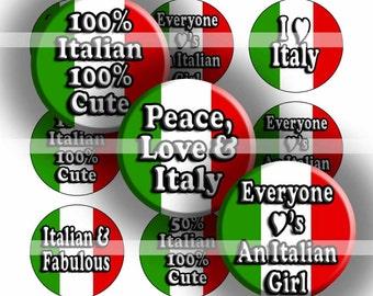 Digital Bottle Cap Collage Sheet - Italian Girl - 1 Inch Circles Digital Images for Bottlecaps