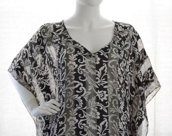 long kaftan  cover-up kaftan maxi dress bohemian dress boho festival gypsy boho black white floral motif