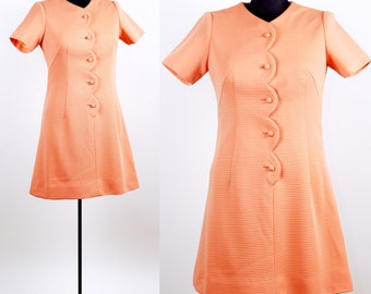 Vintage 1960s Sherbet Scalloped Mini Dress / medium large