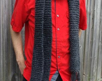Gray Men's Scarf, Women's Knit Scarf, Men's Wool Scarf, Winter Accessories