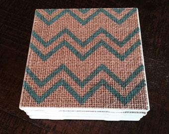 Burlap Tile Coaster Set (4)