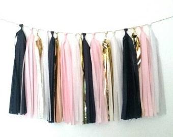 NAVY, BLUSH PINK, white and gold tassel garland - navy and blush pink - pink and gold wedding - navy and pink wedding - blush and navy party